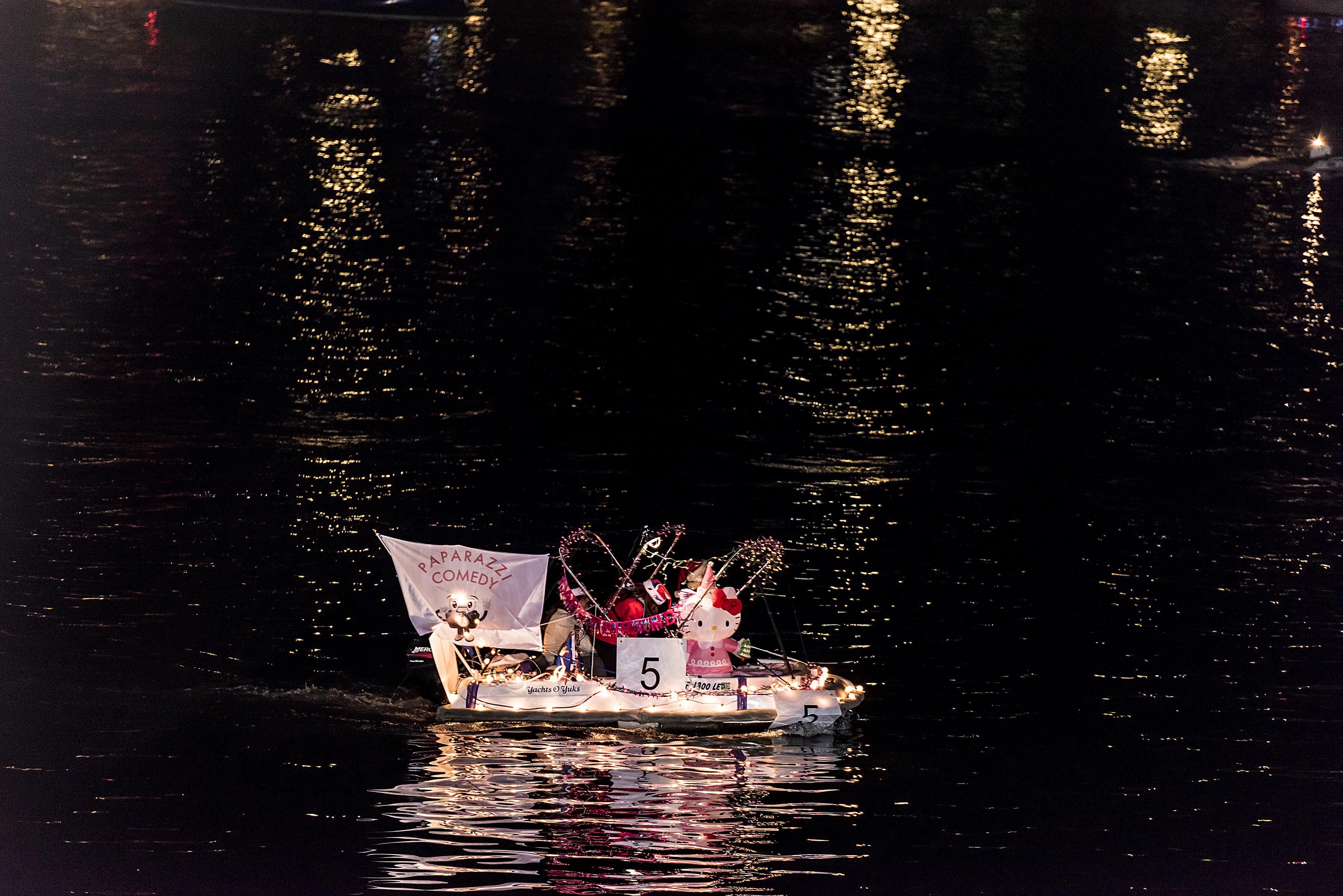 Hello Kitty's Going to The Birthday Party with Santa at The 2014 50th Marina Del Rey Holiday Boat Parade
