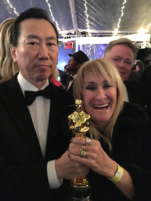 "Gene Chang and Mac Africa  flossing and Oscar, was the highlight of the evening at this wonderful ""party for a cause"" celebrating Oscar Night"