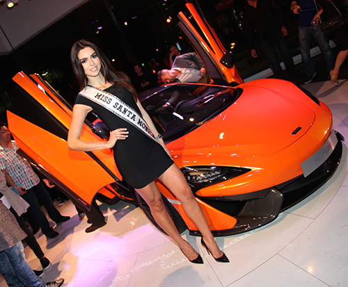 Miss Santa Monica attending Launch of the McLaren 570S at Auto Gallery Beverly Hills