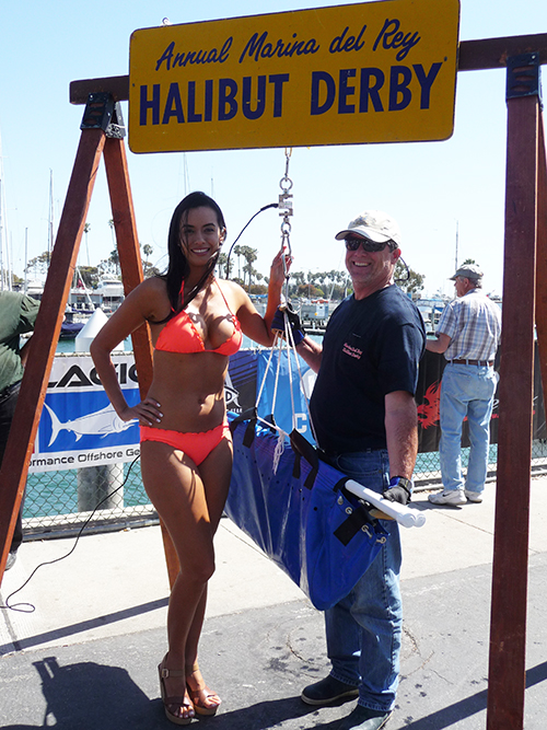 "Keith Lambert winner of 40th Annual Halibut Derby ""Sally"" 20lb California Halibut with Miss Halibut 2015"