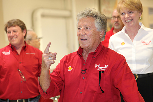"""We're All In!"" Mario Andretti and Elen Phillips, Shell Executive"