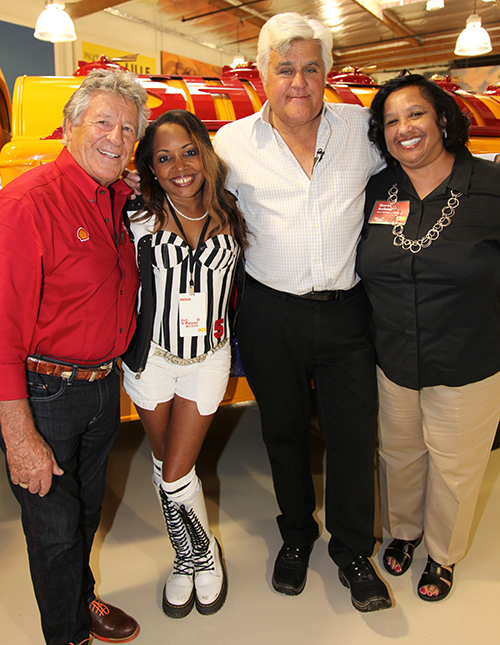 "Mario Andretti, Gisele ""Shooter Diva"" and Jay Leno at Jay Leno's Garage celebrating Launch of Shell V-Power Nitro+ Premium Gasoline......Filler Up!"