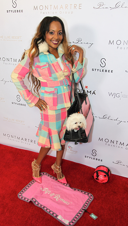"Gisele Ozeri attending the Gala styled by Yana Syrkin of Fifi & Romeo collections matching her celebrity pooch ""Kaous The Malty"" with a matching carrier and blanket. Olate Dogs The Rescue Tour collapsable water bowl. All items can be purchased at The Fifi & Romeo Beverly Hills Boutique 7282 Beverly Blvd., Beverly Hills, CA.  Photo by Gulliermo Proano."