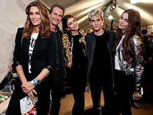 Cindy Crawford with son Presley Gerber as he makes runway debut at Moschino SS17 LA Live Fashion Show