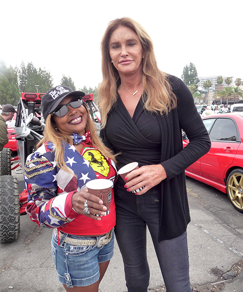 "Caitlyn Jenner attending Supercar Sunday stops for a pic with Gisele ""Shooter Diva"""