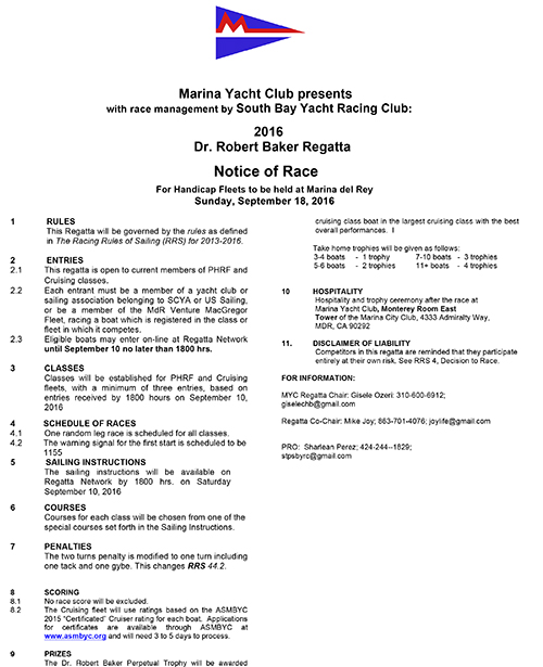 Marina Yacht Club - Notice of Race - September 18, 2016