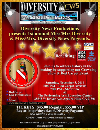 1st annual Ms-Mrs. Diversity & Ms-Mrs. Diversity News Beauty Pageants 2016 - official Flyer