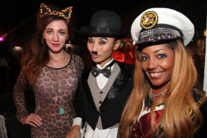 Captain Shooter Diva with Bai Ling as Charlie Chaplin and Amber Martinez (L-R)