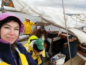 "MYC Race Committee Boat ""Kalista"" photo by MYC Secretary Shari Sellars"