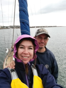 "MYC Race Committee Shari Sellers and Andrew Steiner onboard ""Kalista"" Captain Jonathan Grell Commodore Yachts -photo creditMYC Secretary Shari Sellers"