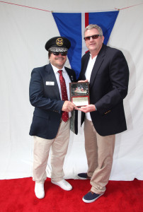 "Commodore Melone and President of Marina Del Rey Boat Parade Kelly King presenting ""Best Yacht Club of the year"" MYC's Back to Back win"