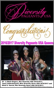 1Diversity Pageants USA 2016 - 2017 Royal Court Queens, Marie Bogacz, Silvia E. Garcia, Janey Nalinchaiyasit copy