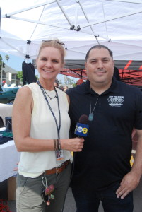 Juli Sharp, Chanel 2 News interviewing Dept. Sheriff Christian Sxott
