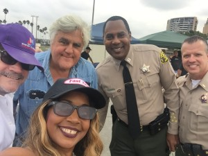 Marina Yacht Club Commodore Craig Melone, Jr. Staff Commodore Gisele Ozeri, Jay Leno and LASD Captain Joseph Stephen attending Shelby's Return to Venice - Help For Heroes LASD Sgt. Steven Owens Memorial Benefit